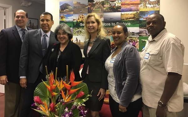 Cutler Bay Town Manager Ralph Casals, Danilo Vargas, Commissioner Daniella Levine Cava, Mayor Peggy Bell, District 8 Community Service Coordinator Rahel Weldeyesus, and Leroy Jones of NANA