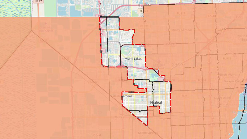 Map of District 13 Boundaries