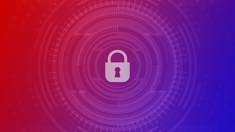 Abstract image of a padlock surrounded by stylized rings with a red to blue gradient.