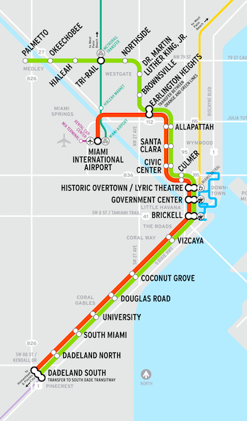 G Train Subway Map.Metrorail Stations Miami Dade County